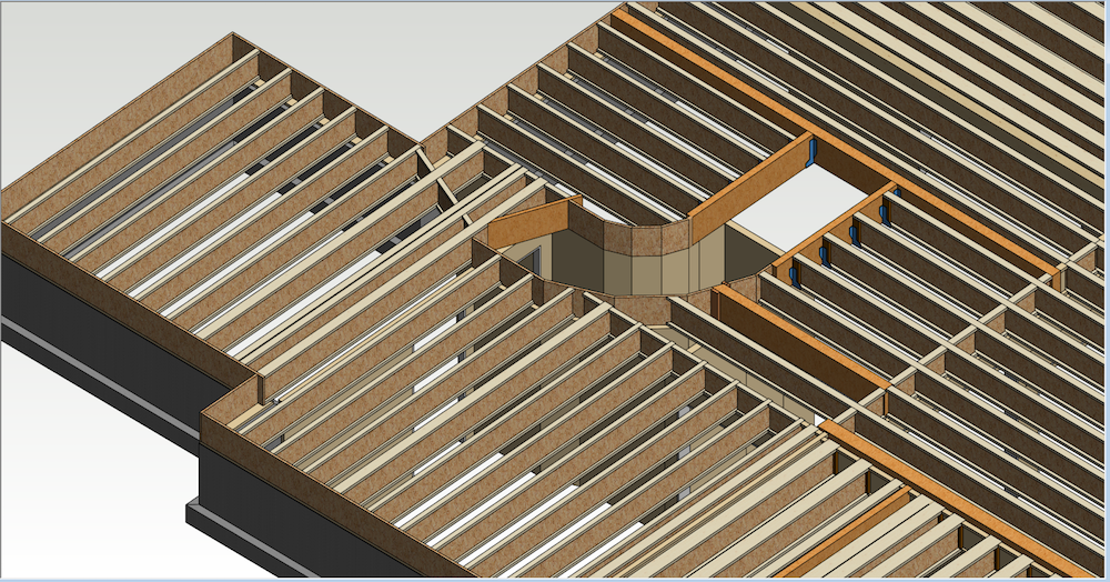 """In this illustration, the joists are designed at 19.2"""" o.c. for a value-engineered solution.  This design uses LSL [Link: https://lpcorp.com/products/framing/lsl/] for stair openings and flush beams to reduce cost and may be suitable for a tract home. The floor performance could be improved by upgrading to a high-performance sub-floor."""