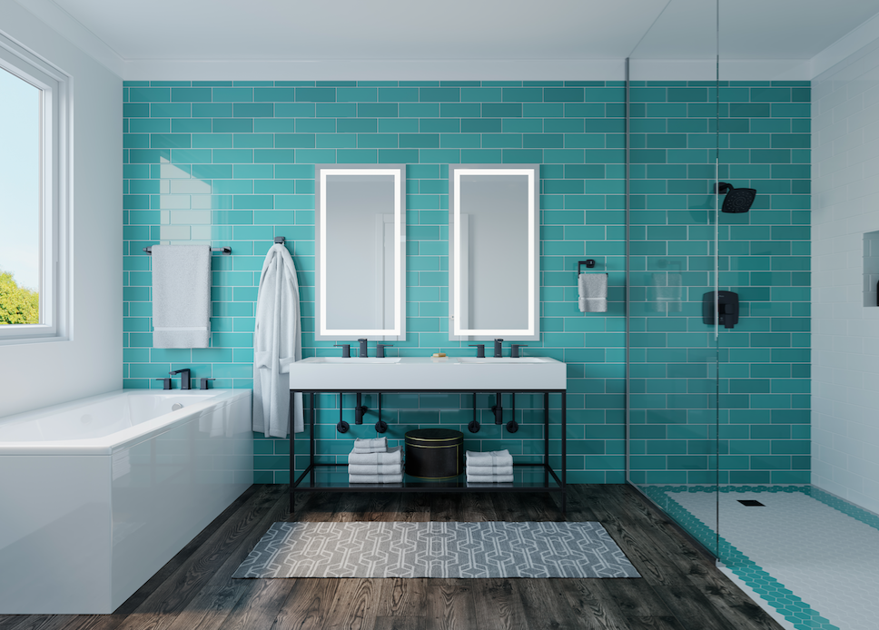 Price-Pfister aqua-toned bath with black and metallic finishes