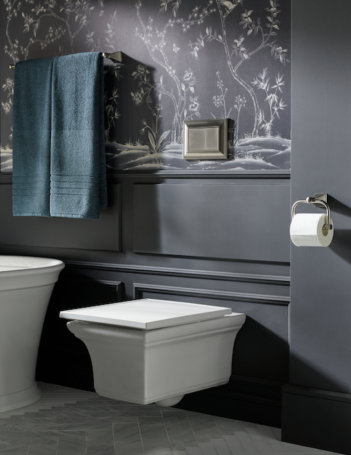 Kohler's wall-hung toilet has traditional, architectural touches