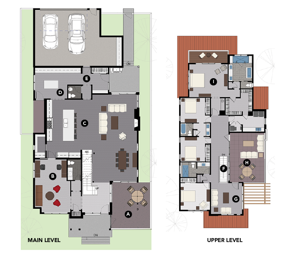 House Review-KGA Studio Architects-Luxury infill-plan main level and upper level