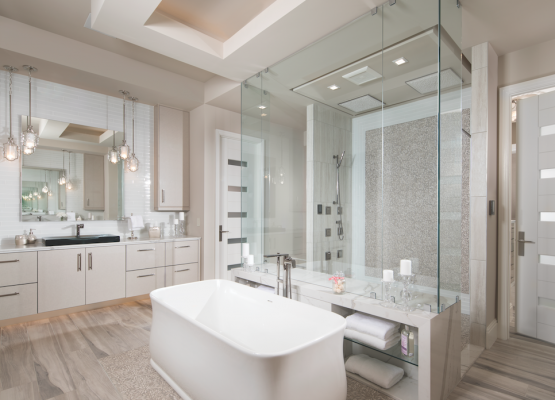 In The New American Home, High Tech Showers, Shapely Tubs, And Elegant