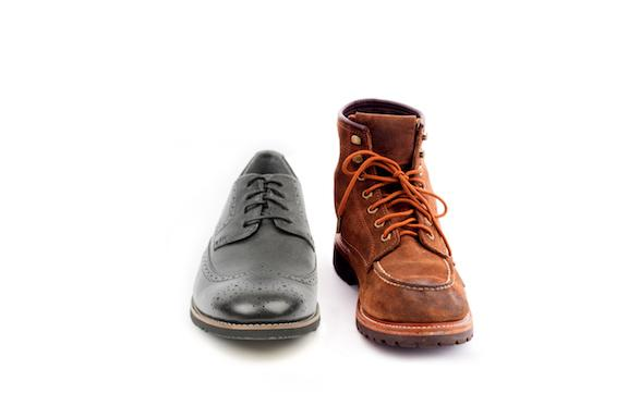 Dress shoe and construction work boot