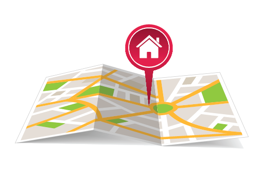 Illustration of map with a marker on it for homeowner location preference.