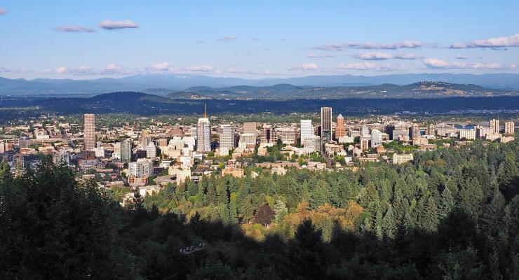 Aerial view of Portland, Ore. at Pittock Mansion