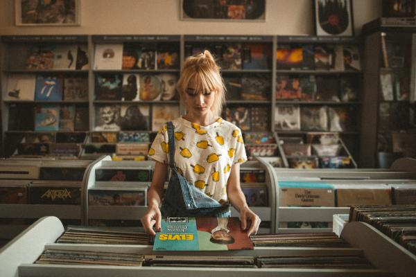 Woman at a record store