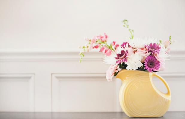 Vase of flowers inside a home