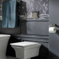 The Memoirs wall-hung toilet frees up square footage. The concealed in-wall tank and carrier system can save up to 9.5 inches of floor space over traditional floor-mounted modela. Its coordinating wall-mounted dual flush actuator plate offers users the water-saving choice of a 0.8 gallon or 1.6 gallon flush.