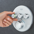 Grohe expands its SmartControl shower system with the new GrohTherm SmartControl thermostatic trim. In line with demand for modern style, the trim's contemporary minimalist design, available in square or round formats and in chrome, brushed nickel and moon white finishes, houses intuitive push-and-turn buttons.