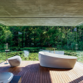 """Curvy organic shapes embody state-of-the-art tech features in Toto's NEOREST Collection. Ergonomics in the Flotation tub create a """"weightless"""" bathing experience; the NX 1 and 2 toilets integrate cleansing, deodorizing and water saving features; the Kiwami av's anti-stick glaze eases cleaning, and the ZN Sensor no-splash faucet turns on and off with a hand wave."""
