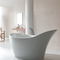Victoria + Albert's Amalfi freestanding modern slipper tub, made with smooth, white ENGLISHCAST® and available in seven exterior colors, measures only 64.25 inches long making it ideal for small spaces.