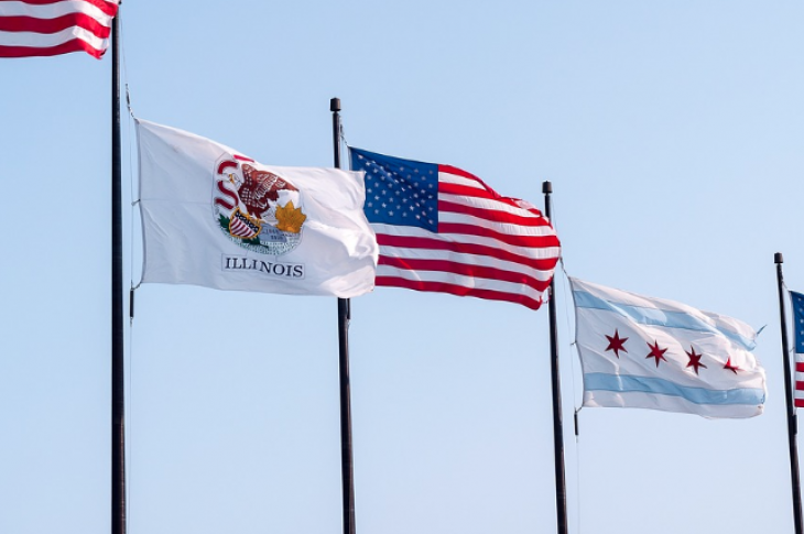 Flags of U.S., State of Illinois, City of Chicago