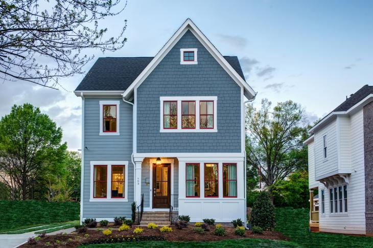 Oakdale at Mordecai, in Raleigh, N.C., was designed with rear-loaded garages and a diversity of architectural styles to fit a traditional neighborhood design palette. Robuck Homes is the builder, with architecture by GMD Design Group.