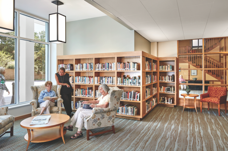 Places to gather and abundant daylight are essential for senior living projects. Kendal on Hudson, north of New York City, offers residents a range of services. Kendal facilities forge ties with the surrounding communities, fostering social engagement. The project is by DiMella Shaffer (Photo: Robert Benson Photography)