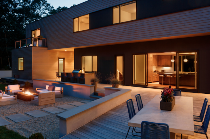 Exterior courtyard of Springs Residence in East Hampton, N.Y.