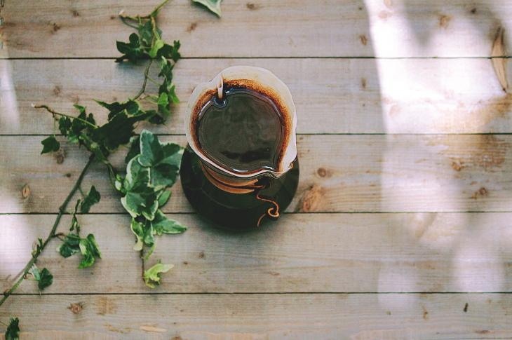 Decking with coffee and ivy