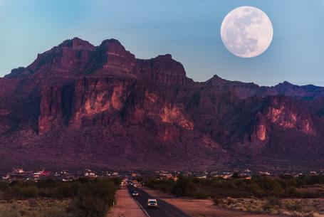 The Supermoon rises above the Superstition Mountains in Arizona on January 30, 2018