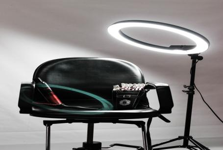 Ring lamp and chair for hair stylist client